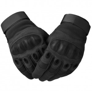 Military Rubber Knuckle Tactical Gloves, Motorcycle Motorbike Riding Full Finger Driving Gloves Black Medium